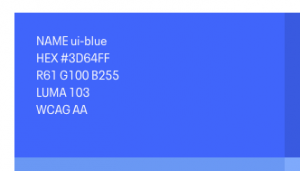 A sample of one of our colors on the Eventbrite Design System colors documentation page. It includes the color name, hex, RGB, and Luma values along with the WCAG score.