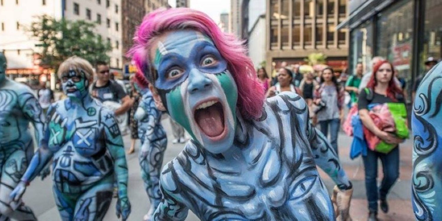 Bodypainting Day Brings Live Nude Painting Naked March Protest To The Waterfront Nsfw