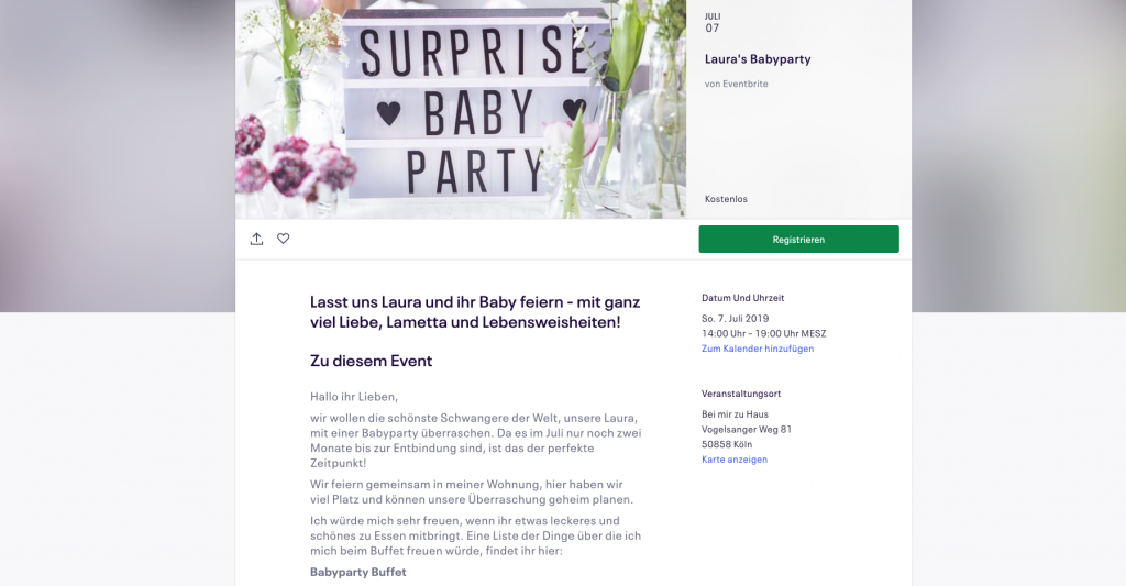 babyparty einladung eventbrite