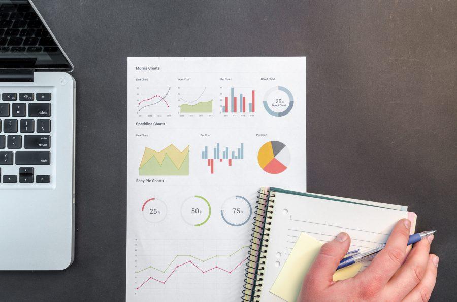 Die Planung einer Marketing-Strategie mit Notizblock, Laptop und Grafiken