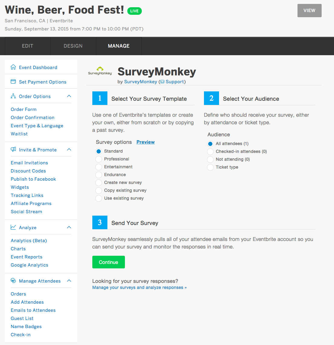 Event tools for charities - Survey Monkey