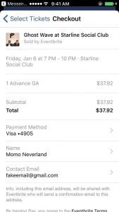 Facebook ticket payment
