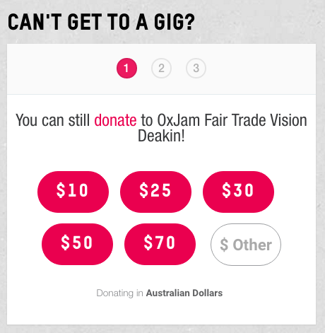 Oxfam Oxjam donations at ticketed event