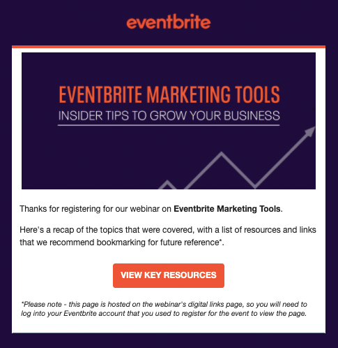 Eventbrite webinar resources email AU