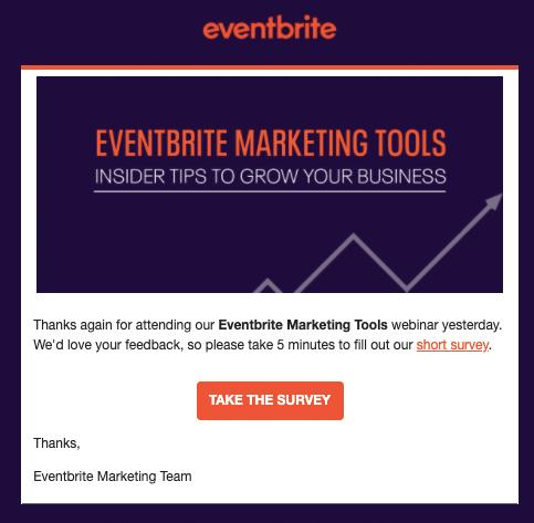 Eventbrite webinar follow up email AU