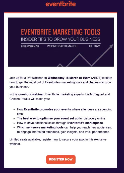Eventbrite webinar invitation AU