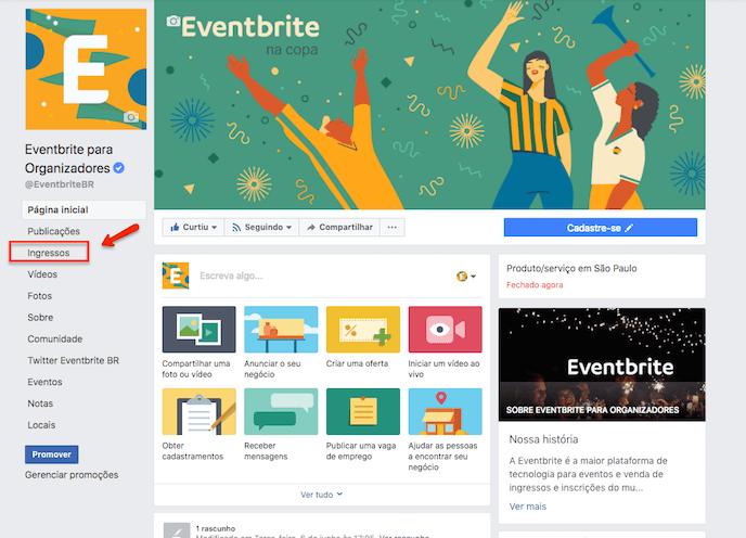 Customize o Eventbistro no Facebook