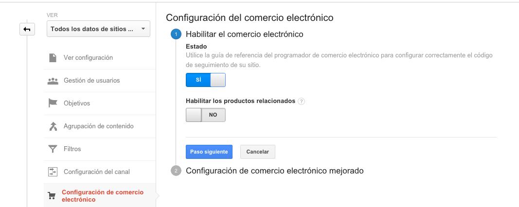 Comercio electrónico con Analytics