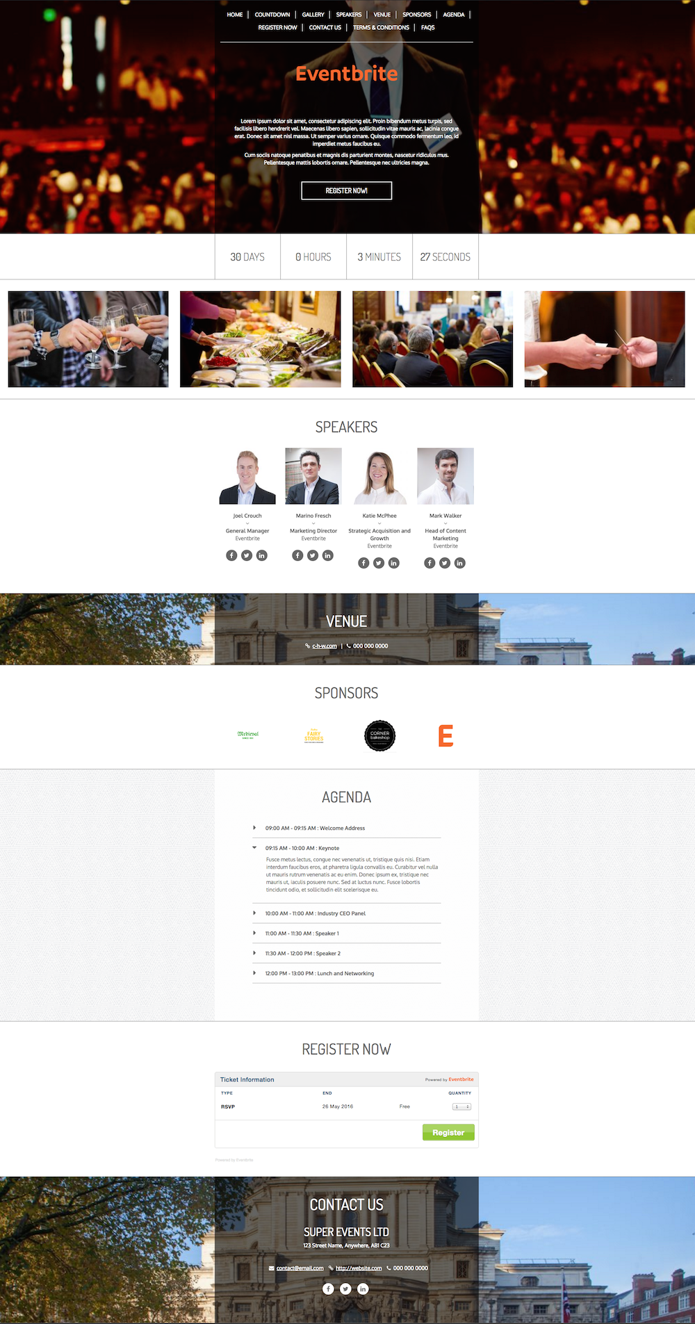 Free, Beautiful, and Responsive Event WordPress Theme - Eventbrite