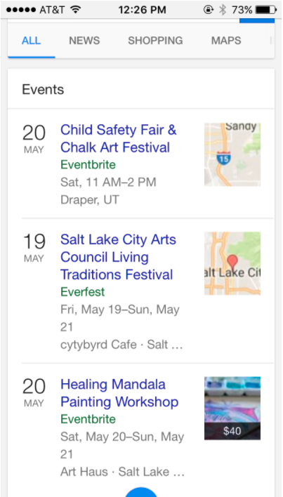 google search update events