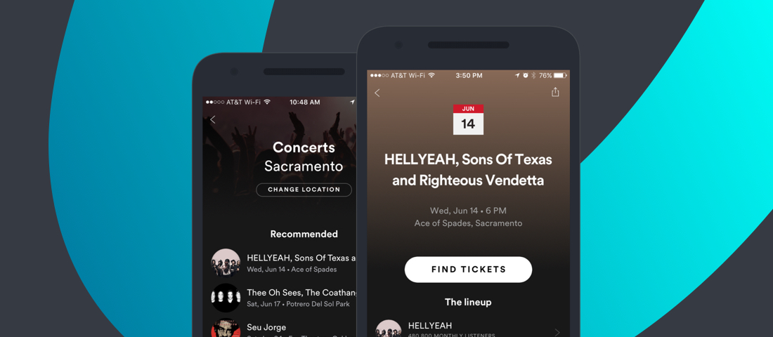 Eventbrite concerts on Spotify