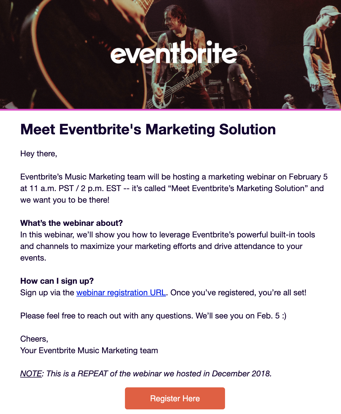 Eventbrite webinar invite example