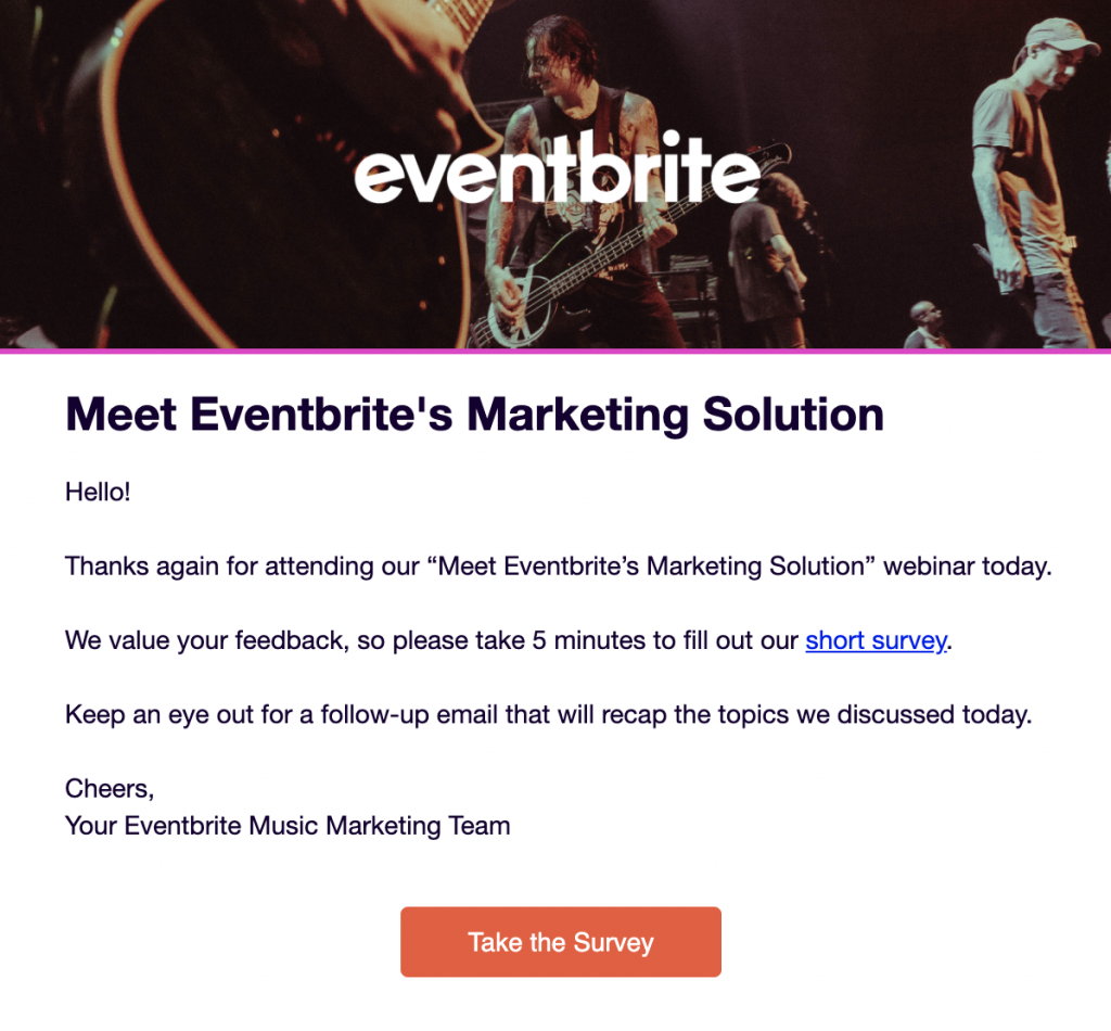 Eventbrite webinar thank you example