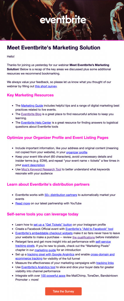 Eventbrite webinar follow up example