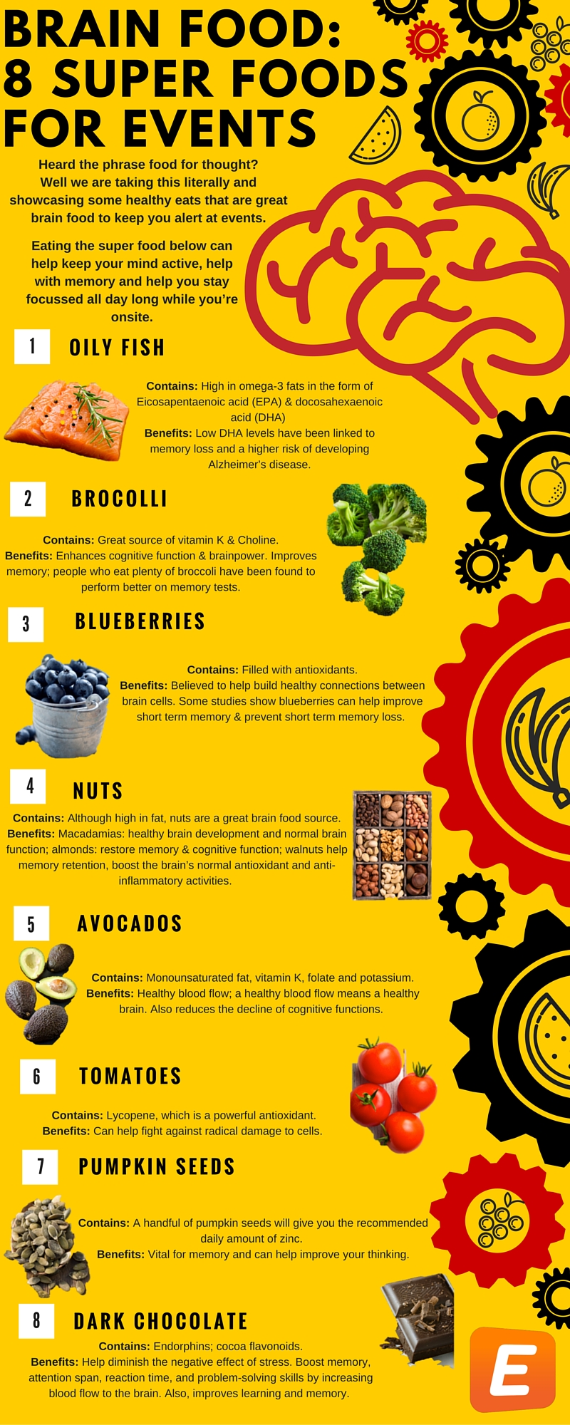 infographic Brain Food- 8 Super Foods for Events