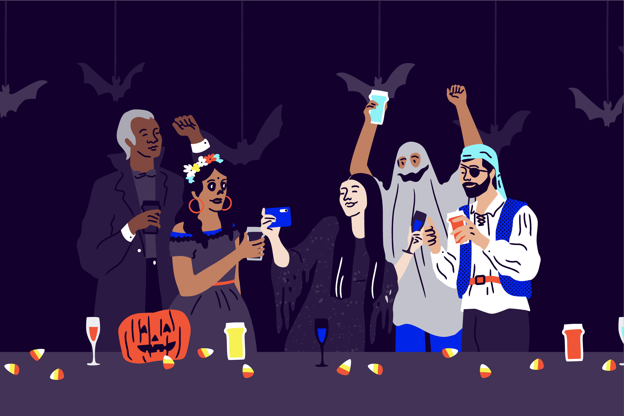 Image of attendees at a Halloween events